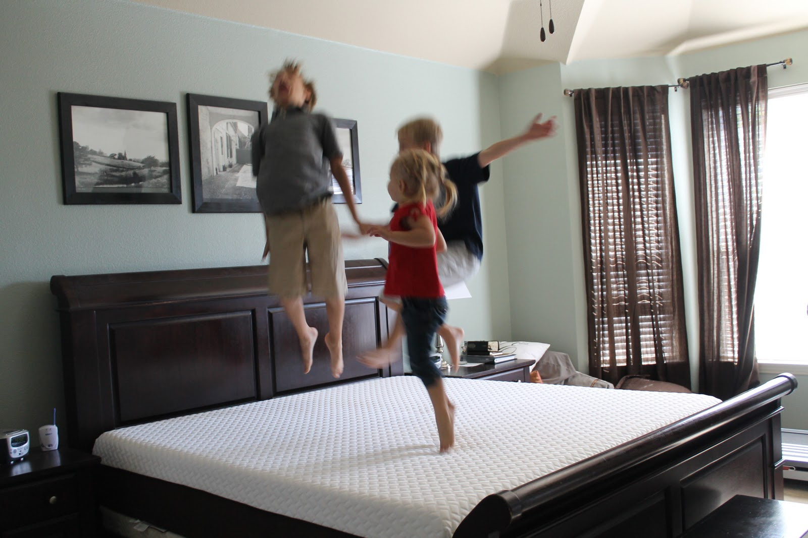 Our Family 3 little monkeys jumping on the bed