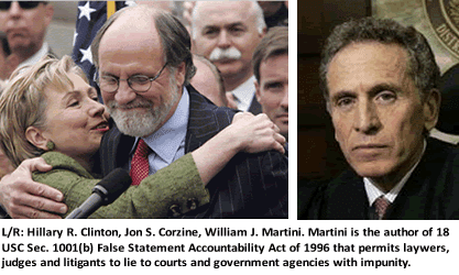 L/R: Hillary R. Clinton, Jon S. Corzine, William J. Martini