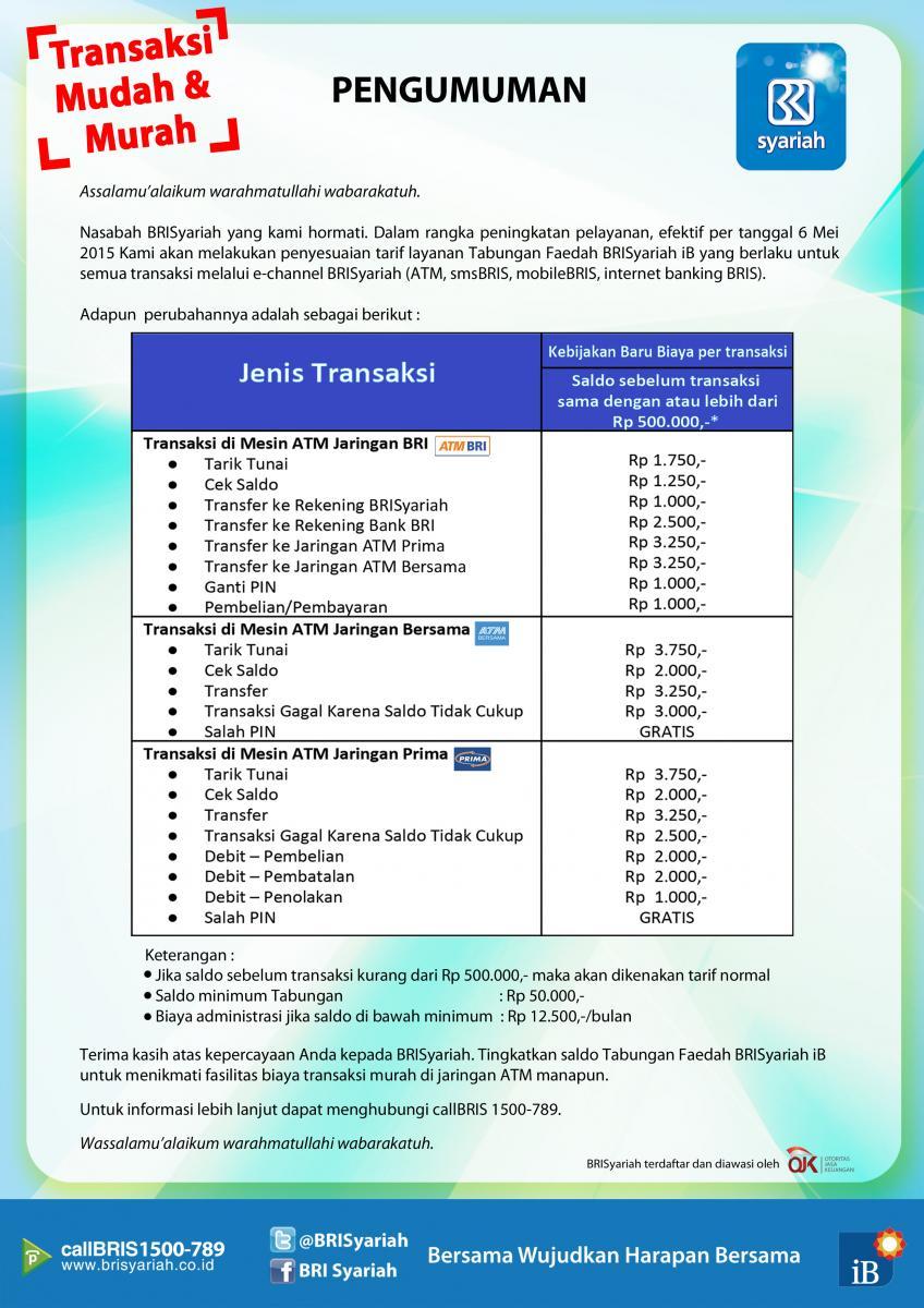 Informasi Bank BRI Syariah: Tarif Tabungan BRISyariah