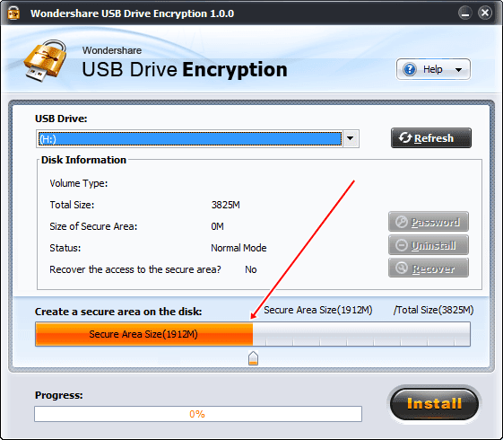 wondershare usb drive encryption installing