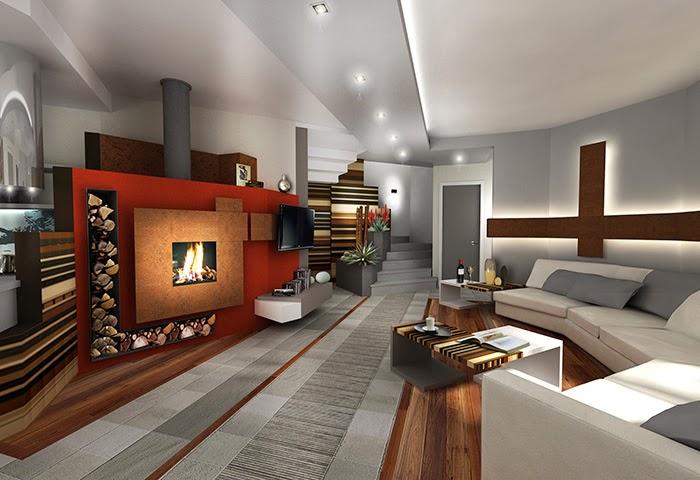 Sala de estar con chimenea salas con estilo for Sala con camino