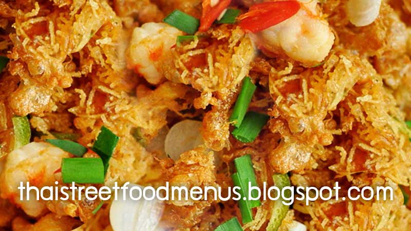 Thai crispy fried noodles menu pad mee grob thai food menu thai how to cook thai crispy fried noodles with chopped pork and shrimp menu in thai street food forumfinder Choice Image