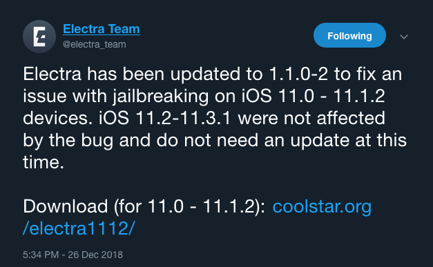 Electra Untethered Jailbreak Tool Updated to solve issue on iOS 11 - 11.1.2
