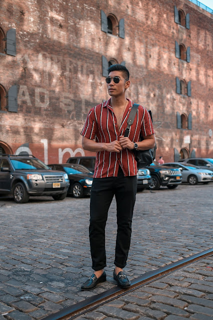 Casual Friday, Weekend Sharp Casual: Striped Button Down Shirt, Coach Leather Backpack, Allen Edmonds Loafers | Asian Male Model Blogger