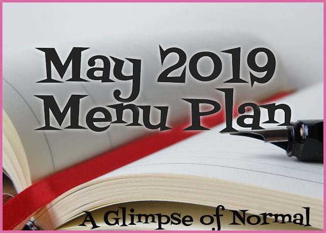 Do you have trouble coming up with a monthly menu plan?  Head over to A Glimpse of Normal and see what we are having for dinner this month and get ideas.