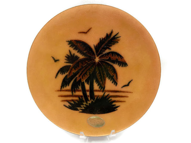 Annemarie Davidson Enamel on Copper Dish Signed and Labeled Mid-Century Modern Palm Trees in the Sunset