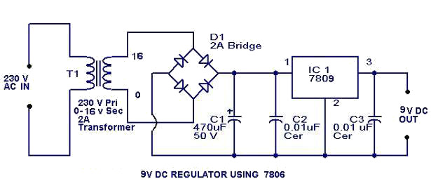 9V Regulator power supply circuit diagram