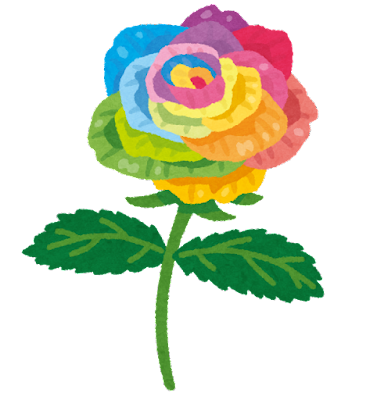虹色のバラのイラスト