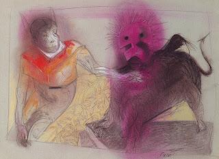 Carlos Nine y Luis Scafati exponiendo sus dibujo en Florida