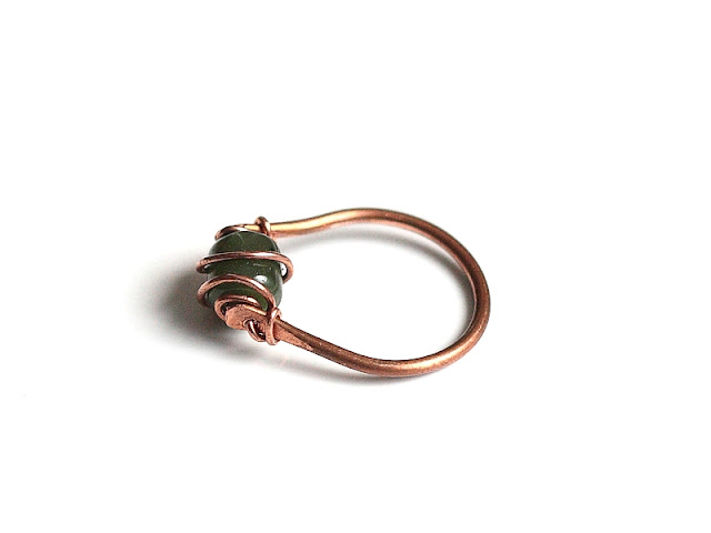 Hot Off The Bench - Copper and Dark Green Jade Ring