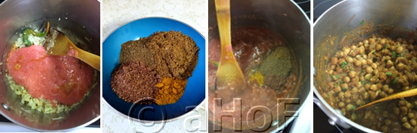 Tomato puree added, dry spices to add, then added to the pot, finished mixture