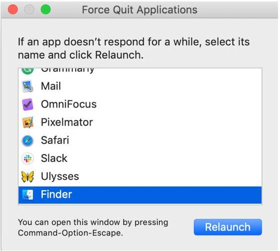 Force Quit Finder
