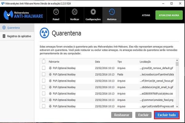 Quarentena do Malwarebytes Anti-Malware Free, programa que remover programas maliciosos que exibem anúncios sobre as páginas abertas no navegador