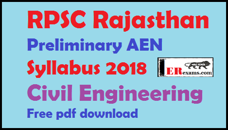 RPSC Preliminary AEN Syllabus 2018 Civil Engineering Free pdf download