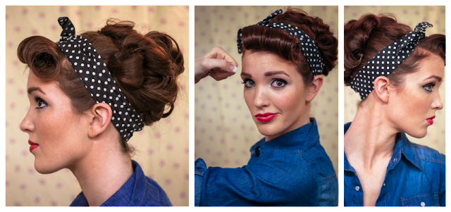 rosie the riveter hair style the freckled fox sweetheart hair week tutorial 3 2061 | Retro vintage rockabilly pin up hair tutorial style 1940s series 6