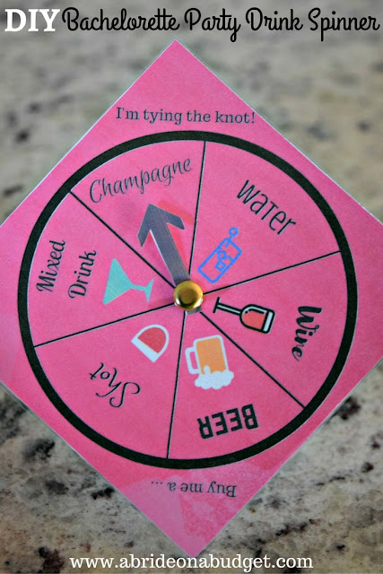 msg 4 21+: Planning a bachelorette party? Make it even more fun with games! Get a free printable for this bachelorette party spinner from www.abrideonabudget.com. #NeverTooHungover