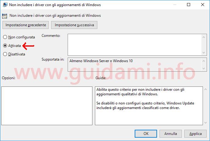 Editor Criteri gruppo locali criterio Non includere driver in Windows Update