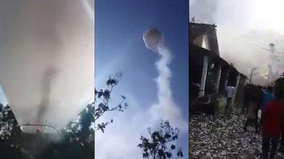 Video Balon Udara Raksasa Penuh Petasan Jatuhi Rumah Warga di Ponorogo