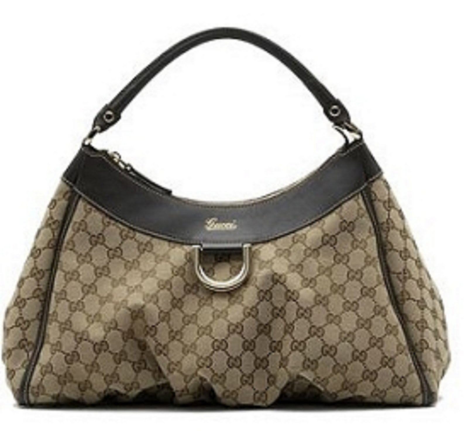 ec65d756b41 Gucci Beige Brown Large D Gold Hobo Bag.