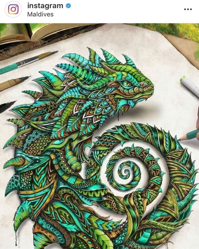 05-Serpent-Lizard-Maahyart-Animal-Drawings-Steeped-in-Zentangle-www-designstack-co