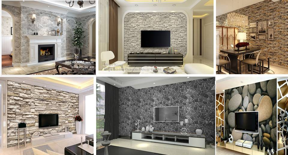3d effect brick stone wallpaper for interior designs decor units for Brick wallpaper interior design