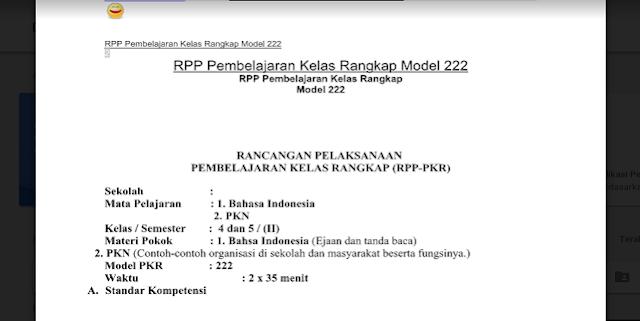 Contoh RPP Kelas Rangkap Model 222 Kurikulum 2013