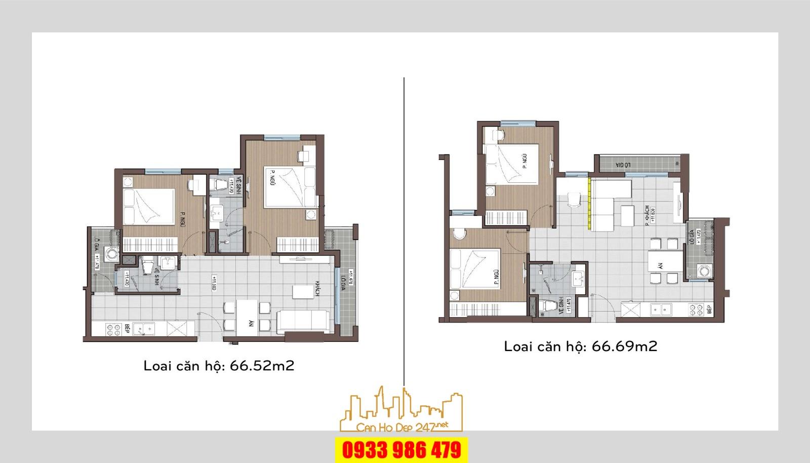 Một kiểu thiết kế khác của loại căn hộ 2PN, diện tích 66m2