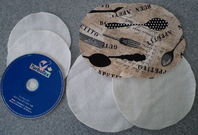 Upcycled Quilted CD Coaster tutorial by eSheep Designs