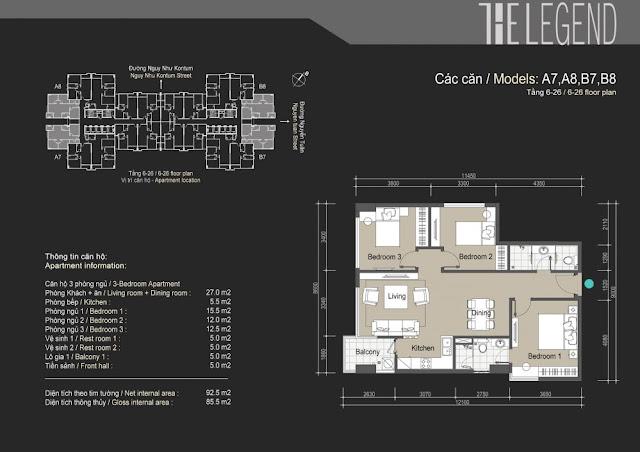 Mặt bằng căn hộ A7 A8 B7 B8 - 85m - The Legend