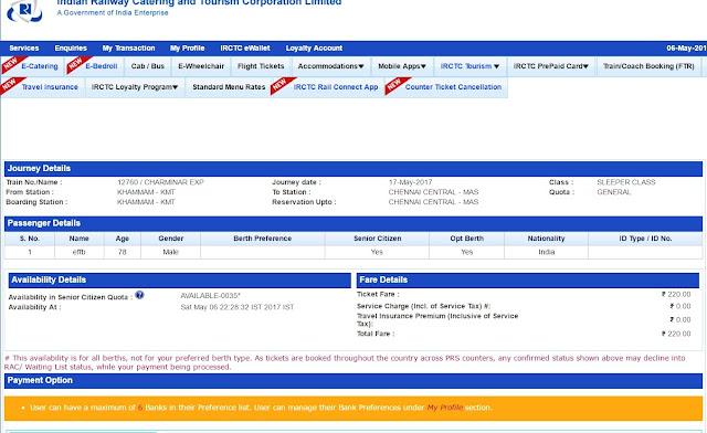 check senior citizen ticket availability