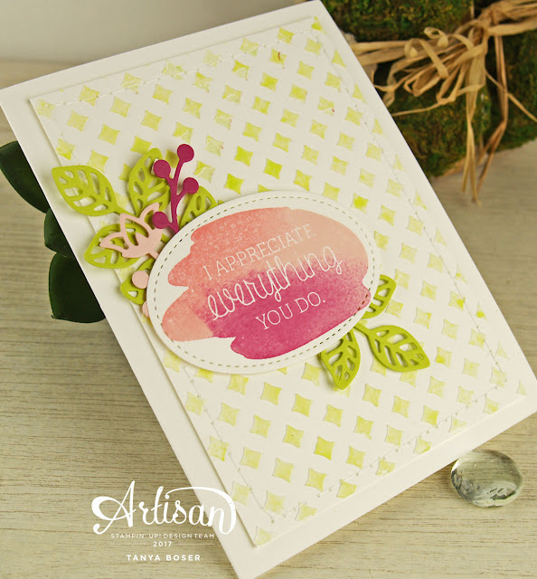 Apply color to texture paste by spritzing with a dilution of reinker and water. Spritz right after applying the texture paste, adn before removing the stencil.- Tanya Boser. Stampin' Up! Just Add Text stamp set, Party Patterns masks