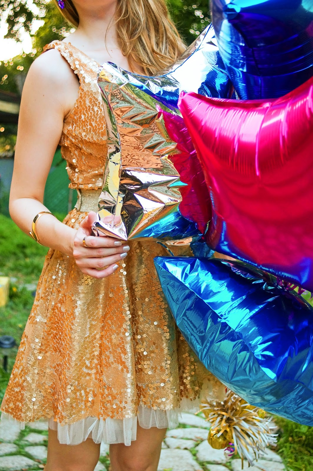 Metallic Balloons are simple and easy decor for New Years Eve