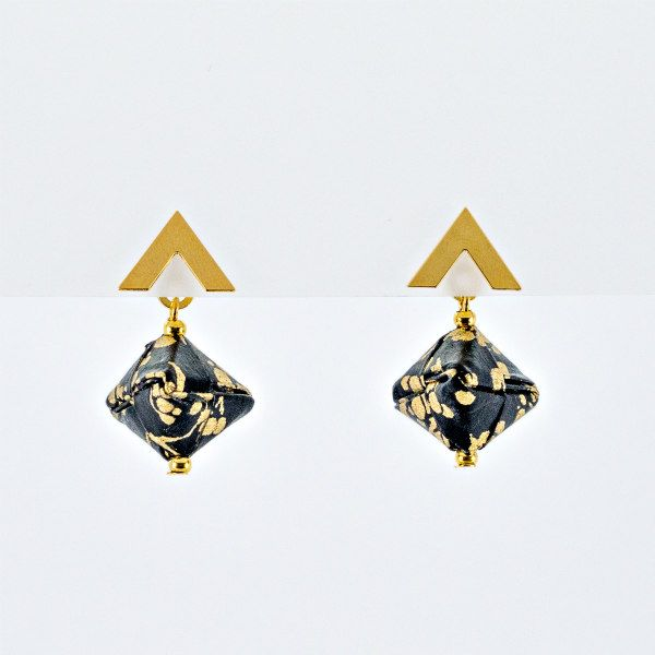 black and gold paper origami earrings with gold findings