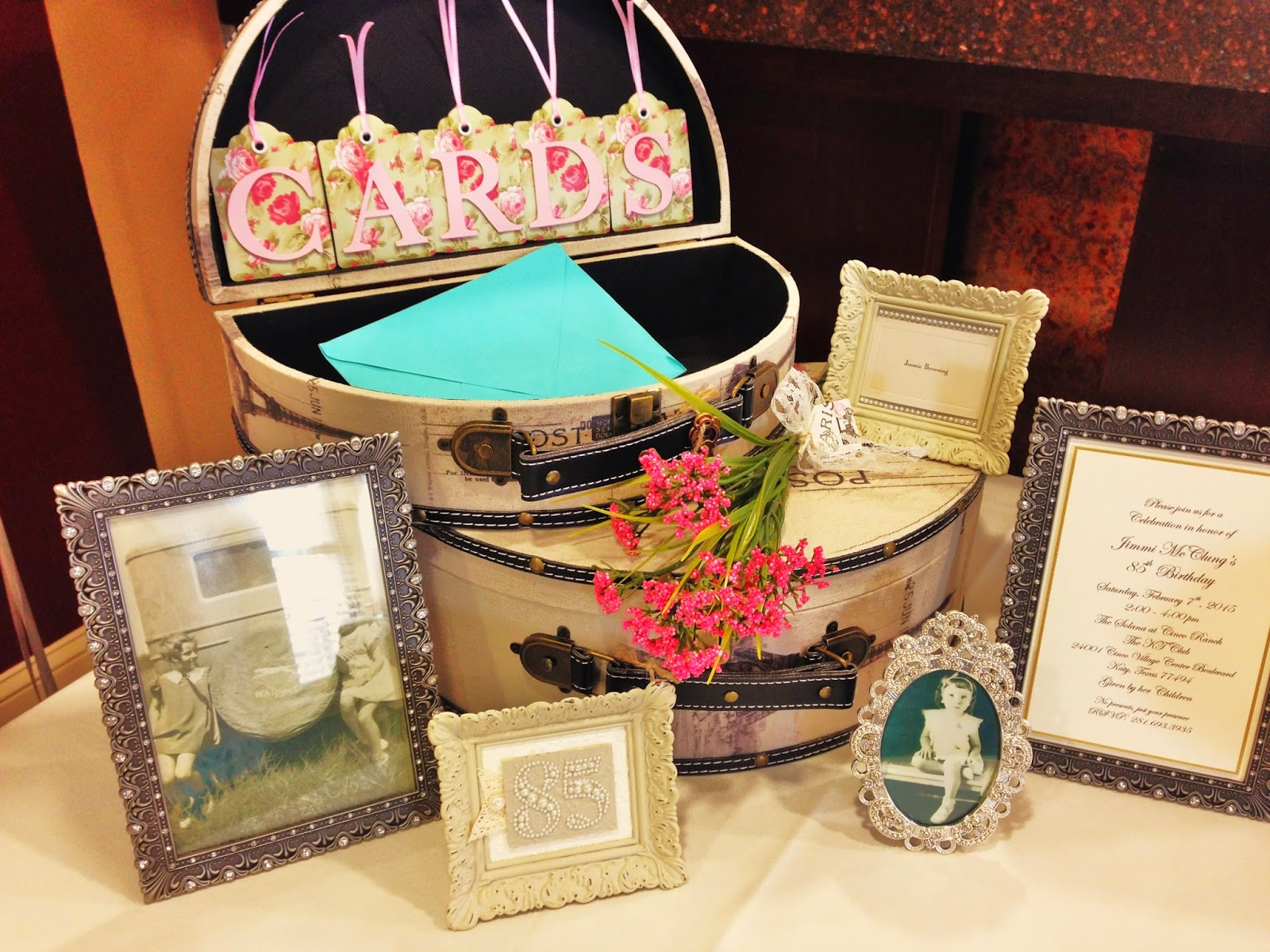 Of My Mom In Vintage Frames Was A Great Way To Decorate The Tables Trunk Place For Everyone Put Their Birthday Cards