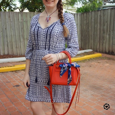 awayfromtheblue Instagram summer SAHM style blue boho printed peasant dress with red bag