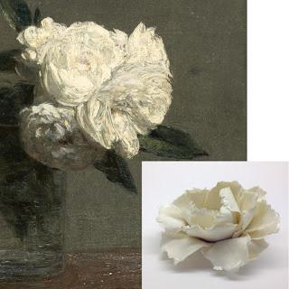 Henri Fantin-Latour : Roses, 1871 détail – Pascale Morin/By Rita : Fleur épanouie - Exposition de produits dérivés inspirés par l'univers du peintre Henri Fantin-Latour, Galerie de la Marraine