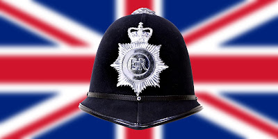 Pic of PC's helmet against Union Jack flag background