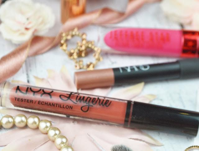 Lovelaughslipstick Blog Pink Flatlay NYX Lingerie Liquid Lipstick