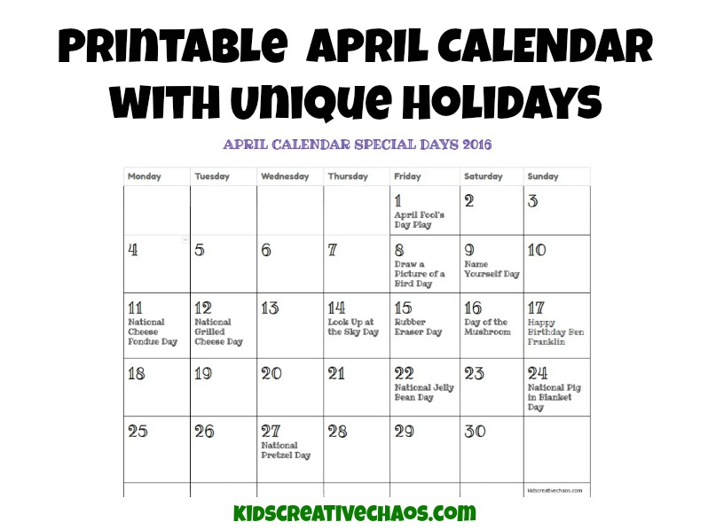 2017 Calendar Of April Holidays And Special Days