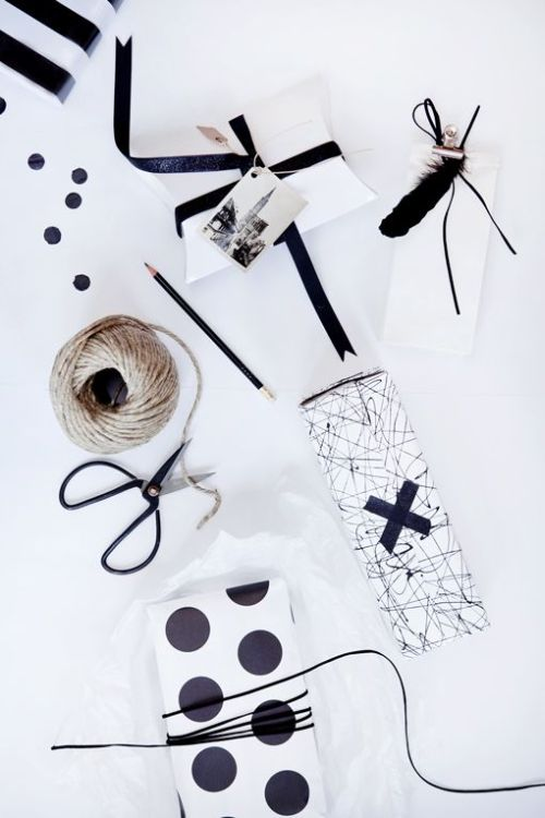 Christmas gift wrapping - elegant black and white with patterns