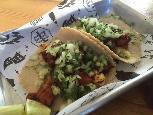 pork and pineapple tacos at Taco Betty