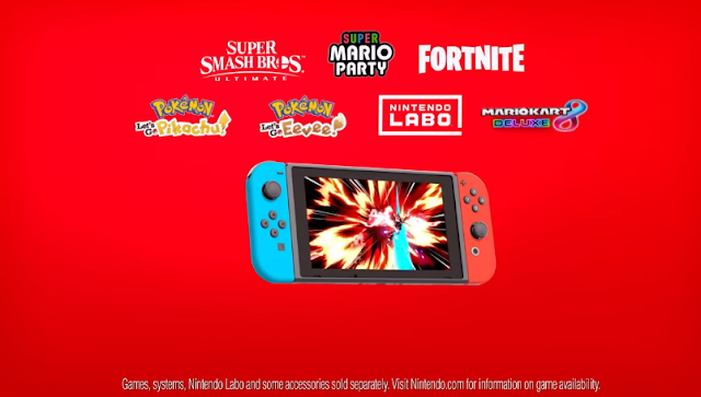 Nintendo Switch Super Smash Bros. Ultimate Mario Party Fortnite Pokémon Let's Go Pikachu Eevee Labo Kart 8 Deluxe