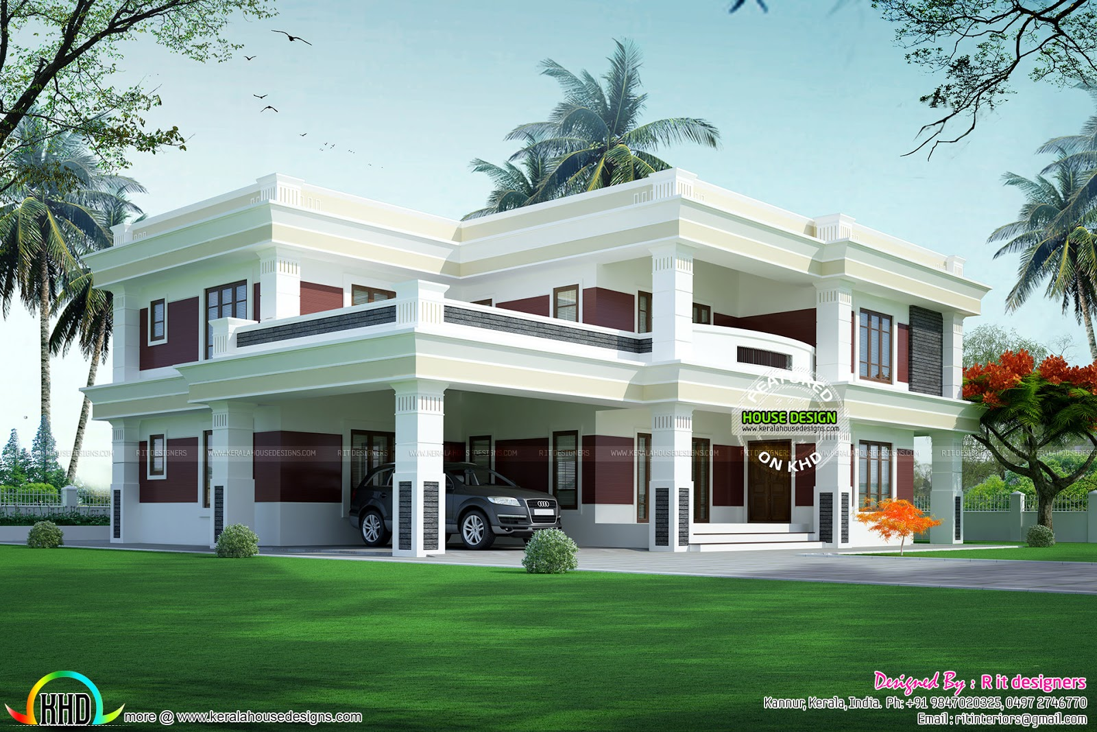 Complete Flat Roof Luxury Home Kerala Home Design And