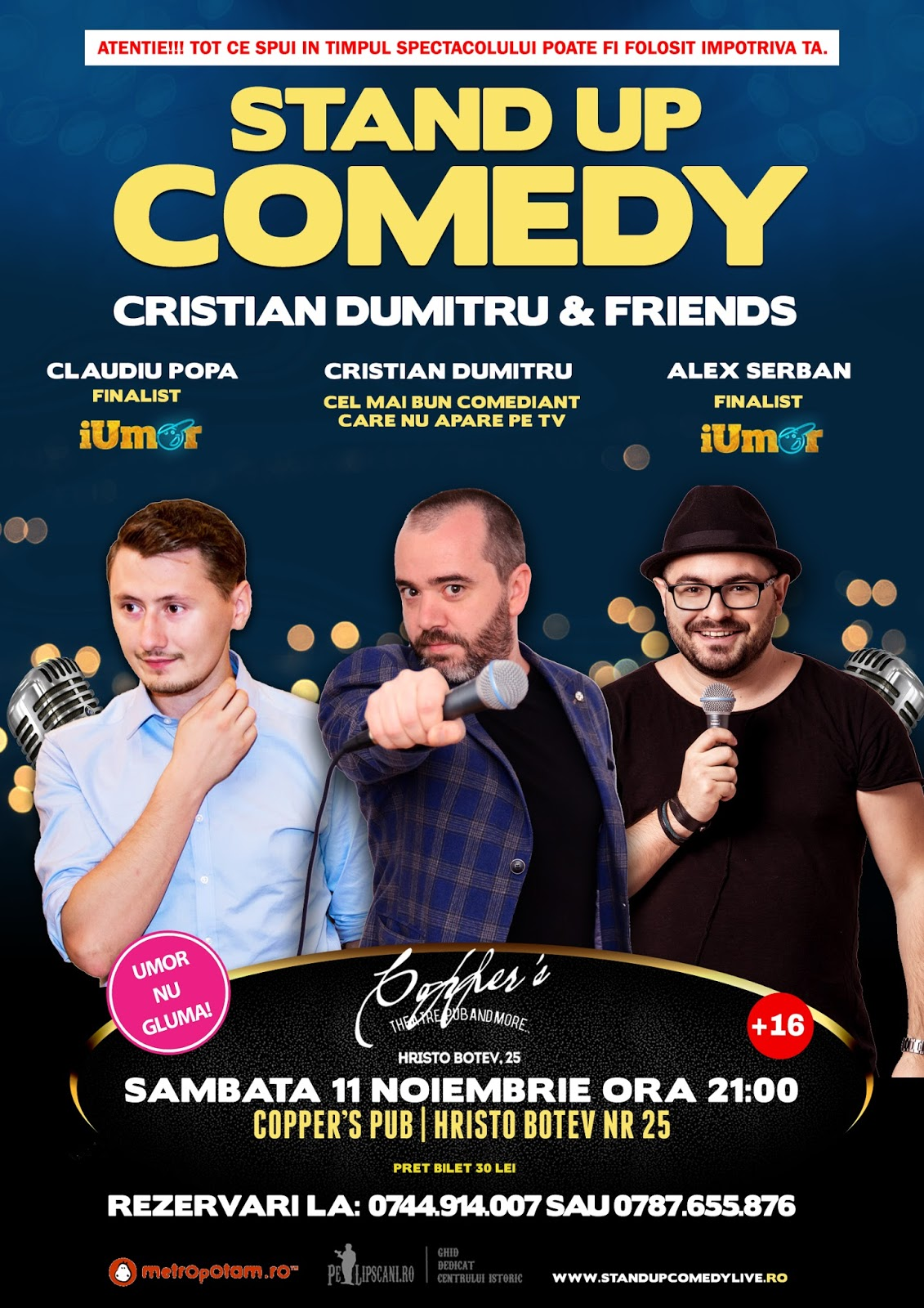 Stand-Up Comedy Bucuresti Sambata 11 Noiembrie 2017