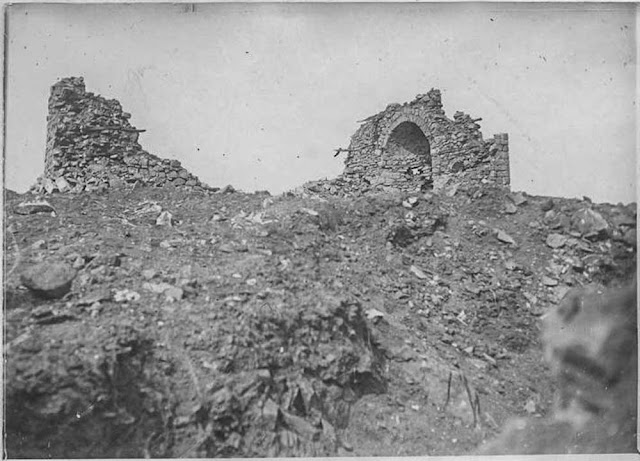In the streets of Bitola (Monastir) (March 1917). The Monastery destroyed by our (French) artillery