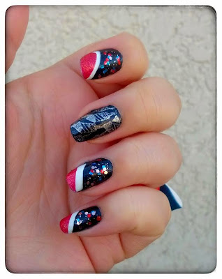 Nailart 4th july bleu blanc rouge