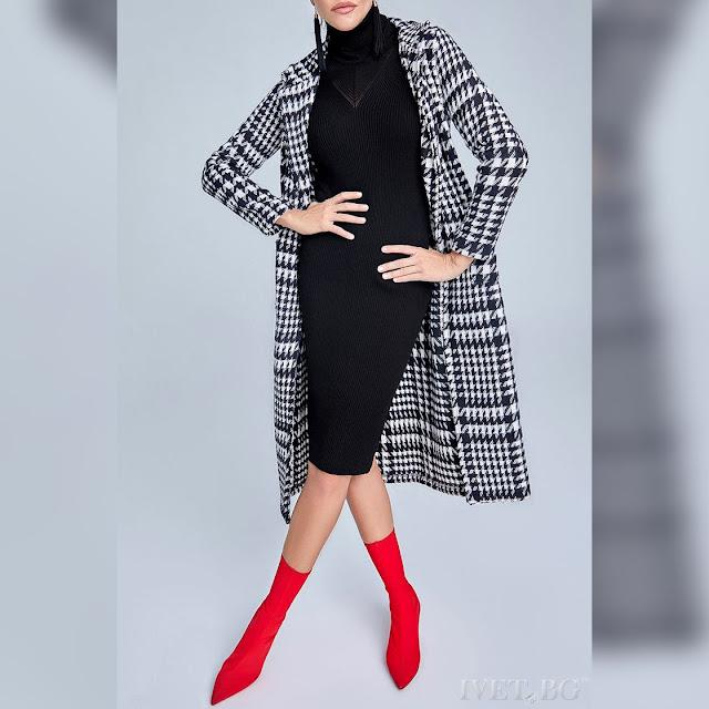 Γυναικείο  άσπρο με μαύρο παλτό RENETA