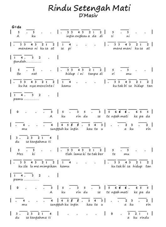 Chord D'masiv Rindu Setengah Mati : chord, d'masiv, rindu, setengah, Angka, Pianika, Rindu, Setengah, D'Masiv, Recorder, Keyboard, Suling, Chord, Piano