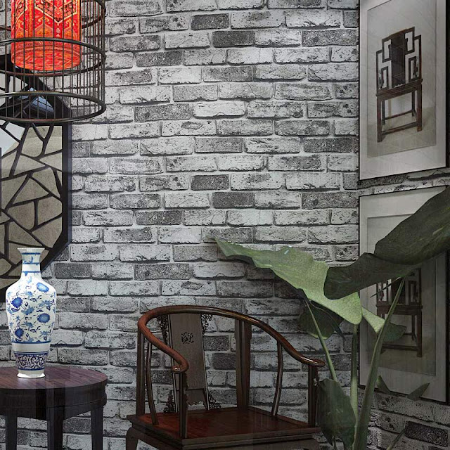 Mural wallpaper for home Modern Vintage grey black Brick wall mural brick Stone Wallpaper 3D livingroom bedroom