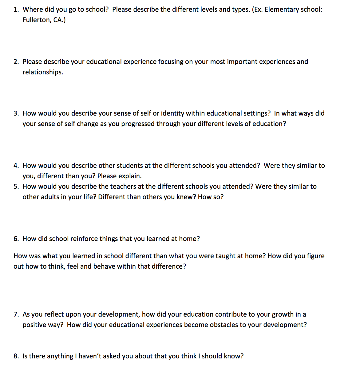 self assessment - Describe Your Educational Experience